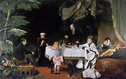 Luncheon in the Conservatory' (1877)  Three generations.  Louise Abemma (1858-1927). Oil on canvas.