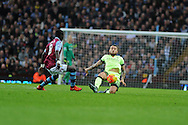 Nicolas Otamendi of Manchester city is challenged by Idrissa Gana of Aston Villa. . Barclays Premier league match, Aston Villa v Manchester city at Villa Park in Birmingham, Midlands  on Sunday 8th November 2015.<br /> pic by  Andrew Orchard, Andrew Orchard sports photography.