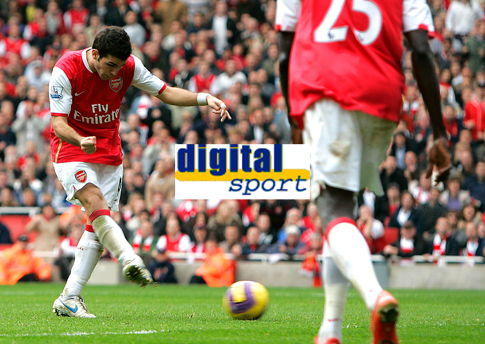 Photo: Tom Dulat/Sportsbeat Images.<br /> <br /> Arsenal v Manchester United. The FA Barclays Premiership. 03/11/2007.<br /> <br /> Arsenal's Cesc Fabregas scores first goal for his team. 1-1
