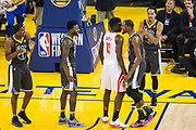 Golden State Warriors forward Kevin Durant (35) celebrates a block against the Houston Rockets during Game 4 of the Western Conference Finals at Oracle Arena in Oakland, Calif., on May 22, 2018. (Stan Olszewski/Special to S.F. Examiner)