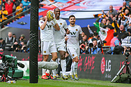 GOAL 0-2. Wolverhampton Wanderers forward Raul Jimenez (9) celebrates with teammates after scoring a goal during the The FA Cup semi-final match between Watford and Wolverhampton Wanderers at Wembley Stadium, London, England on 7 April 2019.