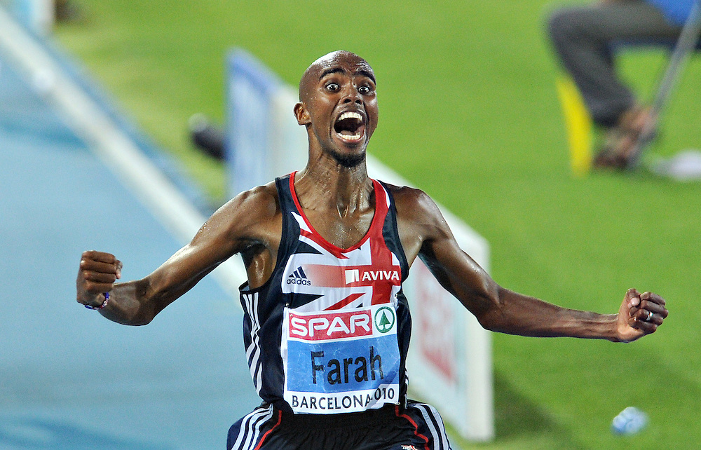 British athlete Farah Mo reacts at the finish line of the 10000m event of European Athletics Championships on 27 July 2010 in Barcelona, Spain.