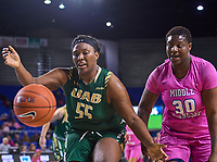 UAB Blazers forward Zakyia Weathersby (55) and Middle Tennessee Blue Raiders forward Rellah Boothe (30) watch the ball bounce out of bounds during the UAB Blazers at Middle Tennessee Blue Raiders college basketball game in Murfreesboro, Tennessee, Thursday, February, 20, 2020.<br /> Photo: Harrison McClary/All Tenn Sports
