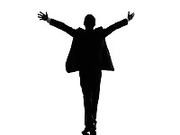 one caucasian business man rear view back arms outstretched in silhouette on white background