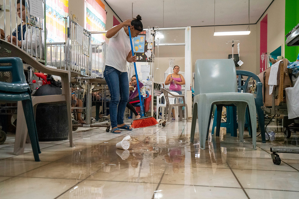 Flooding cleanup at Occidente Hospital in Santa Rosa de Copan, Copan on Tuesday Oct. 29, 2019. Photo by Ken Cedeno