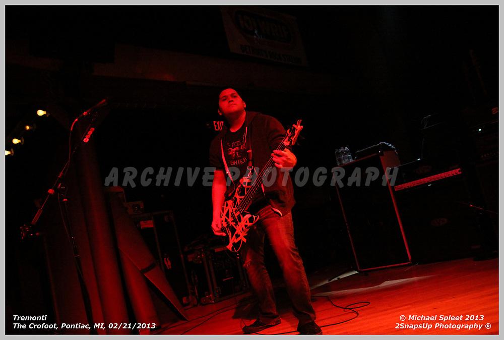 PONTIAC, MI, THURSDAY, FEB. 21, 2013: Tremonti,  at The Crofoot, Pontiac, MI, 02/21/2013.  (Image Credit: Michael Spleet / 2SnapsUp Photography)