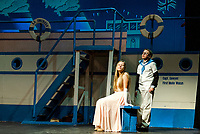 Camryn Marshall as Hope Harcourt and Jesse Powers as Billy Crocker on board the S.S. American during dress rehearsal for Gilford Middle School's musical Anything Goes.  (Karen Bobotas/for the Laconia Daily Sun)