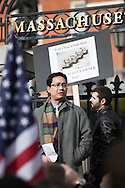 """Boston, MA 01/19/2013.Yang Li of Canton, MA, an immigrant from China who became a naturalized citizen 5 years ago, recounts the inability of Chinese citizens, who were unable to own firearms, to defend themselves from Communist rule.  Li said, """"To me a rifle is not about hunting or sport.  It guarantees to me that I have free will.  That I am a free man."""".Alex Jones / www.alexjonesphoto.com"""