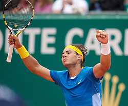 MONTE-CARLO, MONACO - Saturday, April 17, 2010: Rafael Nadal (ESP) celebrates following his 6-2, 6-3 victory in the Men's Singles Semi-Final on day six of the ATP Masters Series Monte-Carlo at the Monte-Carlo Country Club. (Photo by David Rawcliffe/Propaganda)