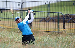 Spain's Sergio Garcia hits from the rough on the 18th during day two of The Open Championship 2018 at Carnoustie Golf Links, Angus.