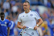 John Terry, the Chelsea captain gives a shirt to Chelsea fans during a walk around the pitch after full time. Barclays Premier league match, Chelsea v Leicester city at Stamford Bridge in London on Sunday 15th May 2016.<br /> pic by John Patrick Fletcher, Andrew Orchard sports photography.