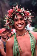 Dancer with head lei, Marquesas, French Polynesia<br />