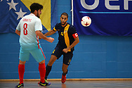 Deaf Futsal European championship qualifying tournament. action from the Sweden v Turkey  (in white) match at Cardiff Metropolitan University, in Cardiff , South Wales on Friday 19th January 2018.  pic by Andrew Orchard/Andrew Orchard sports photography