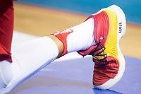Spain's Ricky Rubio write the name of his partner Sergio Llull on his shoes during friendly match for the preparation for Eurobasket 2017 between Spain and Venezuela at Madrid Arena in Madrid, Spain August 15, 2017. (ALTERPHOTOS/Borja B.Hojas)