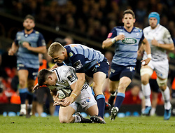 Ospreys' Reuben Morgan-Williams under pressure from Cardiff Blues' Gareth Anscombe<br /> <br /> Photographer Simon King/Replay Images<br /> <br /> Guinness PRO14 Round 21 - Cardiff Blues v Ospreys - Saturday 28th April 2018 - Principality Stadium - Cardiff<br /> <br /> World Copyright © Replay Images . All rights reserved. info@replayimages.co.uk - http://replayimages.co.uk