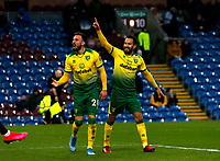 Football - 2019 / 2020 Emirates FA Cup - Fourth Round: Burnley vs. Norwich City<br /> <br /> Josip Drmic of Norwich City celebrates with Lukas Rupp after he score the second goal to put the vusitors 2-0 ahead, at Turf Moor.<br /> <br /> COLORSPORT/ALAN MARTIN