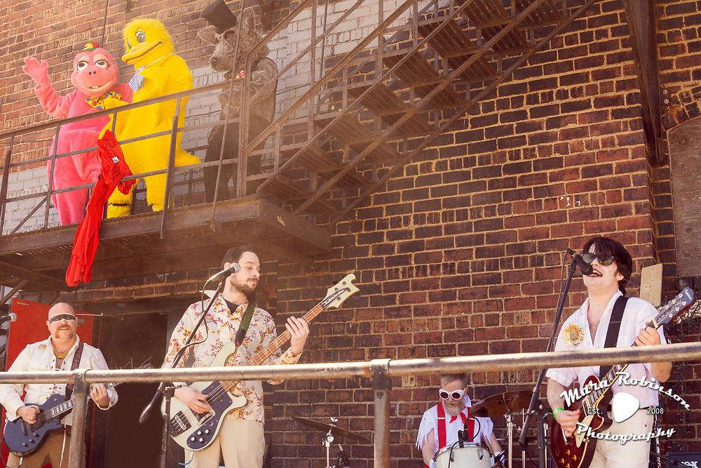 metal band Queen of Hell transitions into bubblegum pop band Heavenly Queen at the Lottery League 2016 Big Show. Photo by Mara Robinson. Band: Matt Trehan; Dave Molnar, Adam Spektor; Matt Clement 4.16.2016