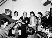 An Taoiseach Charles Haughey TD meets with Paul Hill and Gerard Conlon, two of the Guildford Four. Having been wrongly convicted of a pub bombing, the Four were finally released on appeal after fourteen years in prison. Having been offered no compensation for their time in prison, they met with An Taoiseach to highlight the injustices they had suffered.<br /> 3 November 1989
