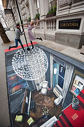 Cast of the Leisure Society at the Corinthia Hotel in London on 3D Art created by artist Joe Hill. the Leisure Society opens at Trafalgar Studio 2 on Tuesday 28th Feb. Picture shows cast member Agyness Deyn, Monday Febraury 27, 2012. Photo By i-Images