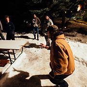 Joseph Paine catching beer during Hostel X team practice.