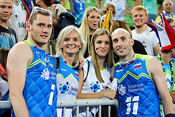 Toncek Stern #1 (SLO) and Ziga Stern #11 (SLO) celebrate with girlfriends during volleyball match between National teams of Slovenia and Poland in semifinal of 2019 CEV Volleyball Men's European Championship in Ljubljana, on September 26, 2019 in Arena Stozice. Ljubljana, Slovenia. Photo by Matic Klansek Velej / Sportida