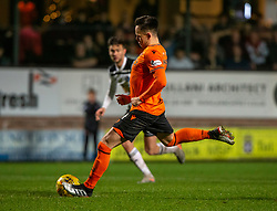 Dundee United's Lawrence Shankland scoring their second goal from their penalty. Dundee United 4 v 0 Ayr United, Scottish Championship game played 21/12/2019 at Dundee United's stadium Tannadice Park.