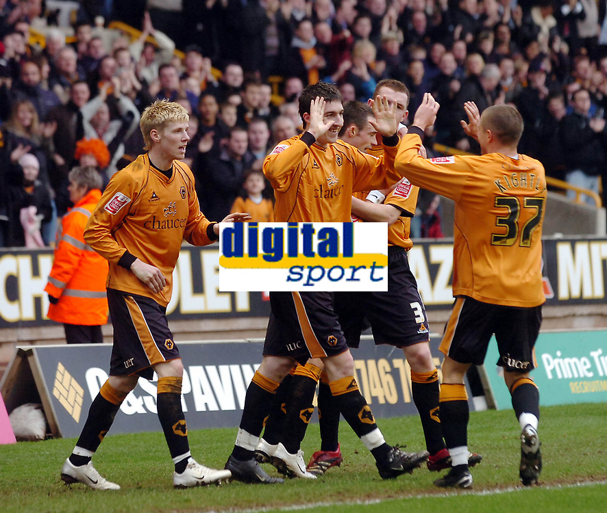 Photo: Kevin Poolman.<br />Wolverhampton Wanderers v Burnley. Coca Cola Championship. 17/02/2007. Wolves players celebrate their 2nd goal which was scored by Stephen Ward (middle).