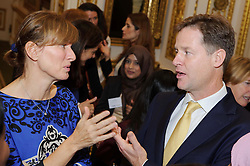 © Licensed to London News Pictures. 17/10/2013 London, UK. Deputy Prime Minister Nick Clegg talks to BBC presenter Fiona Bruce at a speed networking event  at Lancaster House, London for 100 girls from state secondary schools to launch a national campaign, which will see 15,000 women going into secondary schools to speak to pupils about career choices. Participants also include Mr Clegg's wife Miriam Gonzalez Durantez. Photo credit : Simon Jacobs/LNP