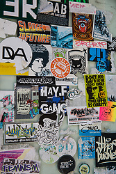 Cardiff, UK. 2nd May, 2017. Stickers outside a music venue in Womanby Street, one of Cardiff's oldest streets. The Save Womanby Street campaign is currently calling on Cardiff Council and the Welsh Government to change its planning policies to protect its grassroots music venues against noise complaints.