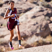 110213       Cable Hoover<br /> <br /> Ganado Hornet Nikeasha Eagleman cruises to a first-place finish in the division 3 race of the Arizona sectional cross country meet in Holbrook Saturday.