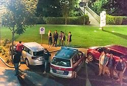 02.09.2016, Kaprun, AUT, Mann feuert in Kaprun mit Schrotflinte vom Balkon, im Bild Zeugeneinvernahme am beschossenen Auto. Ein offenbar alkoholisierte Mann hat am Freitagabend in Kaprun einen Cobra-Einsatz ausgelöst. Der Mann habe mit einer Schrotflinte immer wieder das Feuer vom Balkon seines Hauses eröffnet, teilte die Landespolizeidirektion Salzburg kurz vor Mitternacht auf APA-Anfrage mit. Dabei habe er zwei Fahrzeuge beschädigt, Menschen seien nicht verletzt worden // the special police force Cobra. 'A man has triggered a Cobra-use in Kaprun, on Friday night. The apparently intoxicated man had open fired with a shotgun repeatedly from the balcony of his home...' Informed the Police Directorate Salzburg, just before midnight. He had damaged two vehicles however no people where injured, Kaprun, Austria on 2016/09/03. EXPA Pictures © 2016, PhotoCredit: EXPA/ JFK