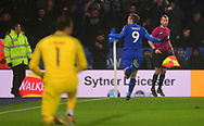 Jamie Vardy of Leicester city celebrates after he scores his teams 1st goal to make it 1-1 .Carabao Cup quarter final match, Leicester City v Manchester City at the King Power Stadium in Leicester, Leicestershire on Tuesday 19th December 2017.<br /> pic by Bradley Collyer, Andrew Orchard sports photography.