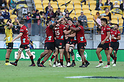Crusaders players celebrate their extra time win. Super Rugby Aotearoa. Hurricanes v Crusaders, Sky Stadium, Wellington. Sunday 11th April 2021. Copyright photo: Grant Down / www.photosport.nz