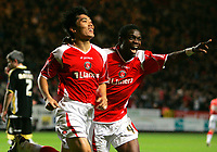 Photo: Tom Dulat/Sportsbeat Images.<br /> <br /> Charlton Athletic v Cardiff City. Coca Cola Championship. 10/11/2007.<br /> <br /> Charlton Athletic's Zheng Zhi (L) celebrates his goal together with Sam Sodje (R). Charlton leads 3-0