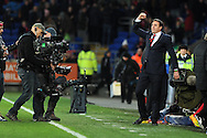 Malky Mackay, the Cardiff city manager shows his delight with a 2-2 draw. Barclays Premier League match, Cardiff city v Manchester Utd at the Cardiff city stadium in Cardiff, South Wales on Sunday 24th Nov 2013. pic by Andrew Orchard, Andrew Orchard sports photography,