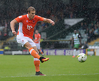 Blackpool's Brad Potts has a shot at goal <br /> <br /> Photographer Ian Cook/CameraSport<br /> <br /> The EFL Sky Bet League Two - Yeovil Town v Blackpool  - Saturday 3 September 2016 - Huish Park - Yeovil<br /> <br /> World Copyright © 2016 CameraSport. All rights reserved. 43 Linden Ave. Countesthorpe. Leicester. England. LE8 5PG - Tel: +44 (0) 116 277 4147 - admin@camerasport.com - www.camerasport.com
