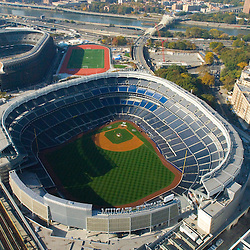 Aerial view of the new Yankee Stadiums as seen on Oct. 22, 2009 .Grounds crew preparing field for ALCS Game on 10/26/09.