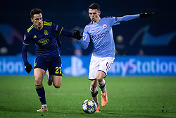 Nikola Moro of Dinamo Zagreb and Phil Foden of Manchester City during football match between GNK Dinamo Zagreb and Manchester City in 6th Round of UEFA Champions league 2019/20, on December 11, 2019 in Maksimir, Zagreb, Croatia. Photo by Blaž Weindorfer / Sportida