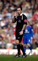 Photo: Jed Wee.<br /> Liverpool v Manchester United. The Barlcays Premiership. 18/09/2005.<br /> <br /> Referee Rob Styles had to fight to keep control of the game.