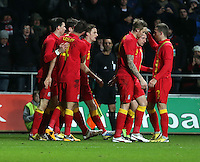 Pictured: Samuel Vokes of Wales is mobbed by team mates while he is celebrating his goal. Wednesday 06 February 2013..Re: Vauxhall International Friendly, Wales v Austria at the Liberty Stadium, Swansea, south Wales.