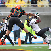 Bethune Cookman Wildcats defenuve back Marquis Drayton (6) intercepts the ball in front of Florida A&M Rattlers tight end Alonzo Palmer-Hicks (37) during the Florida Classic NCAA football game between the FAMU Rattlers and the Bethune Cookman Wildcats at the Florida Citrus bowl on Saturday, November 22, 2014 in Orlando, Florida. (AP Photo/Alex Menendez)