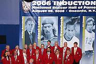 28 August 2006: Members of the Soccer Hall of Fame gather on stage following the induction ceremony. The National Soccer Hall of Fame Induction Ceremony was held at the National Soccer Hall of Fame in Oneonta, New York.