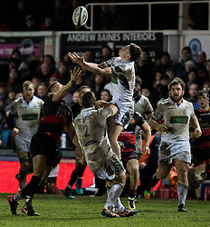 Glasgow Warriors' Adam Ashe claims the high ball<br /> <br /> Photographer Simon King/Replay Images<br /> <br /> Guinness PRO14 Round 14 - Dragons v Glasgow Warriors - Friday 9th February 2018 - Rodney Parade - Newport<br /> <br /> World Copyright © Replay Images . All rights reserved. info@replayimages.co.uk - http://replayimages.co.uk
