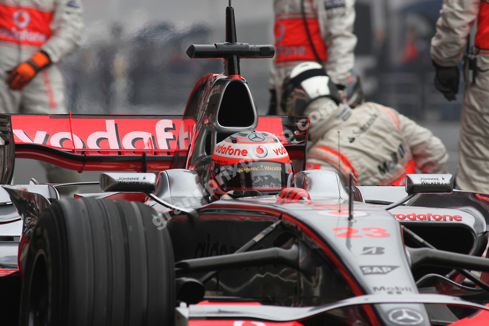 Heikki Kovalainen (McLaren-Mercedes) in the pits during testing at the Circuit de Catalunya outside Barcelona in late February 2008. Photo: Grand Prix Photo