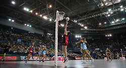 Strathclyde Sirens' Cat Tuivaiti in action during the Vitality Netball Superleague Super Ten match held at Arena Birmingham