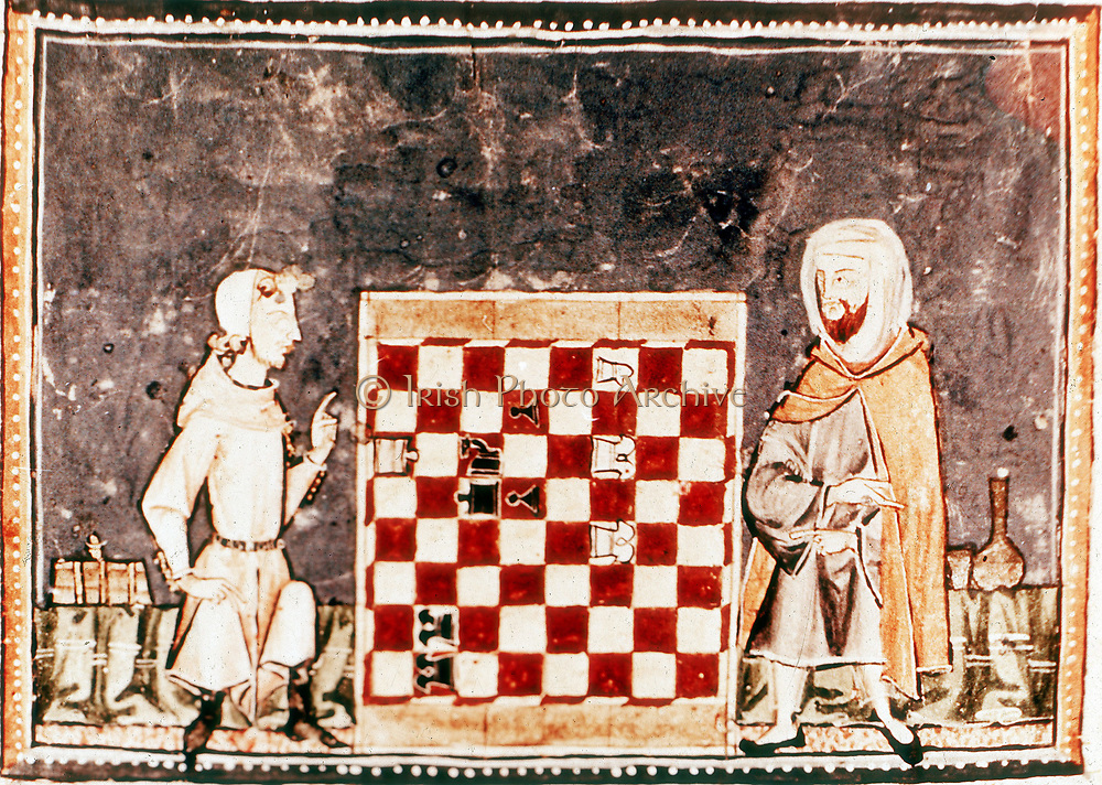 Game of Chess between a Crusader and a Saracen. From Spanish manuscript of a treatise on chess by Alfonso X, the Wise (1221-1284) king of Castile and Leon from 1252. 13th century.