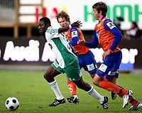 Fotball <br /> Tippeligaen<br /> Briskeby Gressbane <br /> 14.09.08<br /> HamKam  v Aalesund Fotballklubb 2-1<br /> Foto: Dagfinn Limoseth, Digitalsport<br /> <br /> Jonatan Tollås , Aalesund og Oluwasegun Abiodun , HamKam