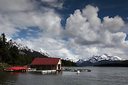 Canoes & boathouse sit on Maligne Lake, near Jasper, Alberta, Canadian Rockies