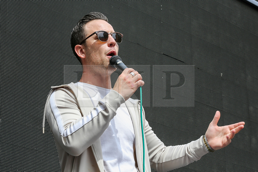 © Licensed to London News Pictures. 03/08/2019. London, UK. Danny Tommo speaks at the Free Tommy Robinson rally in central London. Last month Stephen Yaxley-Lennon, known as Tommy Robinson was given a nine-month prison sentence at Old Bailey after he was found guilty of contempt of court.. Photo credit: Dinendra Haria/LNP