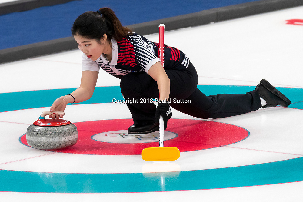 Jang Hye-ji (KOR) competing in the Mixed Doubles Curling round robin at the Olympic Winter Games PyeongChang 2018